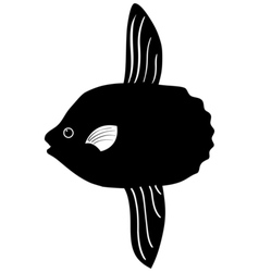 Silhouette of sunfish vector