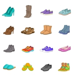 Shoe icons set cartoon style vector