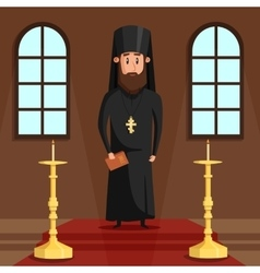Orthodox christian priest or bishop with beard vector