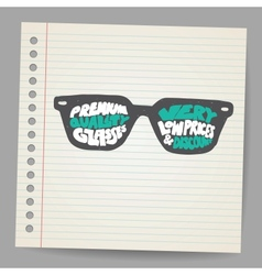 Doodle glasses with premium quality sign vector