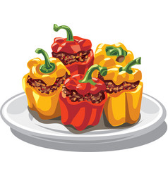 Stuffed bell peppers vector