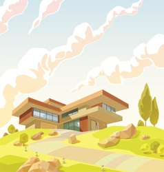 Beautiful modern villa vector