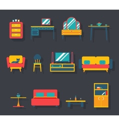 Flat furniture icons and symbols set for living vector