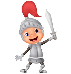 Cartoon knight boy vector