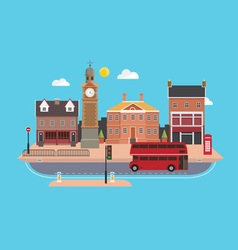 City street in flat design style united kingdom vector