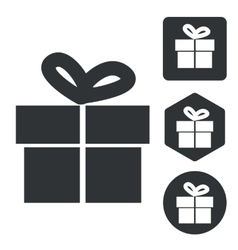 Gift icon set monochrome vector