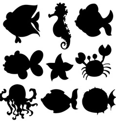 Set of aquatic animals in black vector