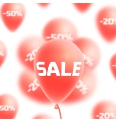 Sale background with red realistic balloons vector