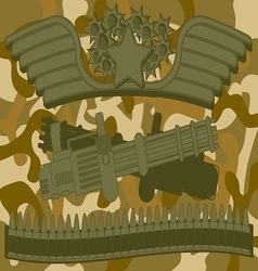 Military logo machine gunner vector