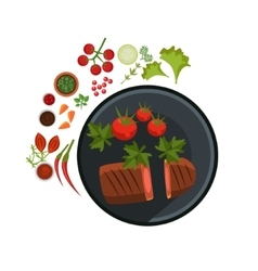 Medium grilled steak on plate vector