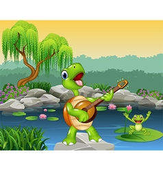 Cute turtle playing guitar on rock vector image