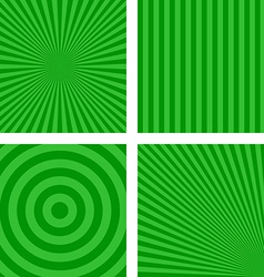 Green simple striped pattern background set vector