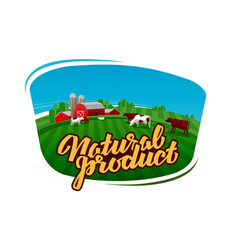 Cow milk logo dairy farm farmer or cattle vector