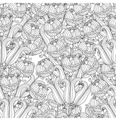 Decorative seamless black and white flowers vector