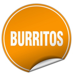 Burritos round orange sticker isolated on white vector