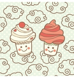 Two cute smiling cupcakes on clouds vector image