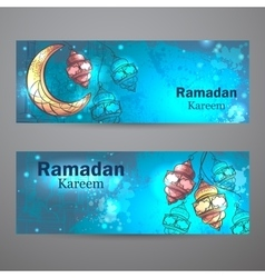 Ramadan kareem lamps and crescent moon horizontal vector