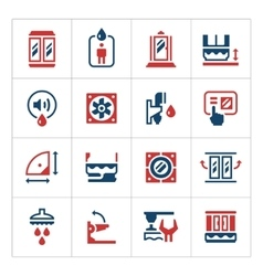 Set color icons of shower cabin vector