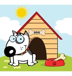 Happy White Bull Terrier vector image