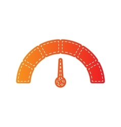 Speedometer sign  orange applique vector