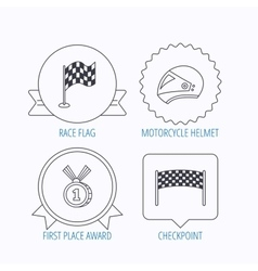 Race flag checkpoint and motorcycle helmet vector