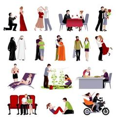 Couples people flat set vector