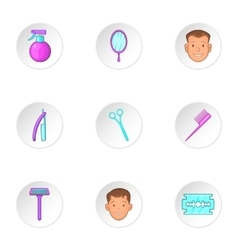 Barber icons set cartoon style vector image vector image