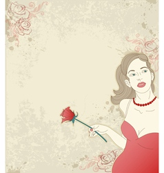 beautiful girl with red rose on a grunge backgroun vector image vector image