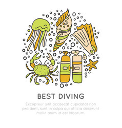 best diving hand draw icon concept diving vector image vector image