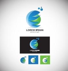 Blue green sphere logo 3d vector image vector image