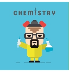 Chemist yellow suit with a respirator chemistry vector