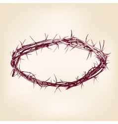 crown of thorns hand drawn llustration vector image vector image