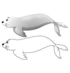 Doodle animal character for seal vector