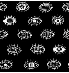 Eyes sketchy hand drawn outline seamless pattern vector