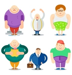 Fat man funny cartoon characters set vector