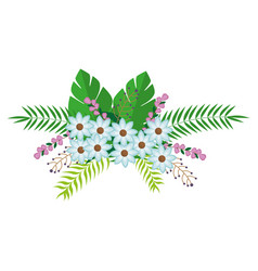 Flowers bunch floral design with leaves vector