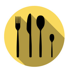 fork spoon and knife sign flat black icon vector image
