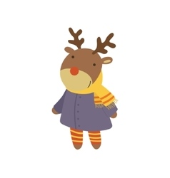 Girl Deer In Blue Warm Coat Childish vector image vector image