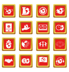 Global connections icons set red vector