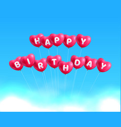 happy birthday hearts balls vector image