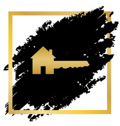 Home key sign golden icon at black spot vector