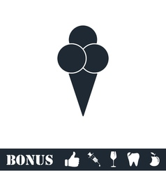 Ice cream balls in waffle cone icon flat vector