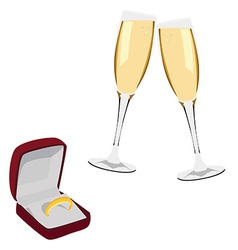 Jewellery box with ring and champagne glasses vector image vector image