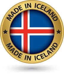 Made in iceland gold label with flag vector