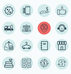 Set of 16 commerce icons includes shop rich vector