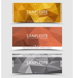 Set of geometric polygonal header vector image