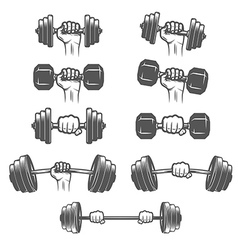 Set of vintage hands with dumbbells vector