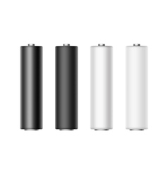 Set of white black metalic matt glossy batteries vector