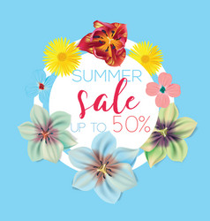 Summer sale flower banner with text on blue vector