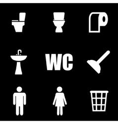 White toilet icon set vector